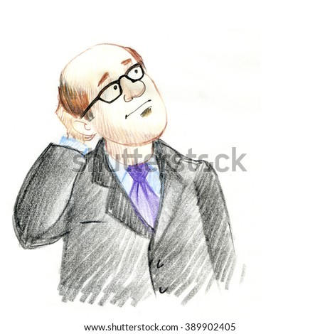 A man in a business suit. Accountant. Manager. Drawn with crayons. Background for your text - stock photo
