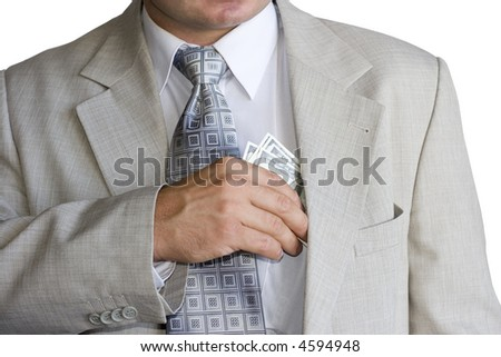 A man in a business suit giving money - stock photo