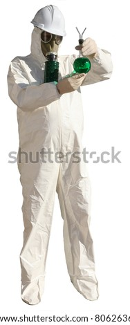 a man in a hazmat suit, wears a gas mask, a hard hat, and rubber gloves while pointing at YOU THE VIEWER and holding a beaker of Unknown Dangerous Liquid isolated on white - stock photo