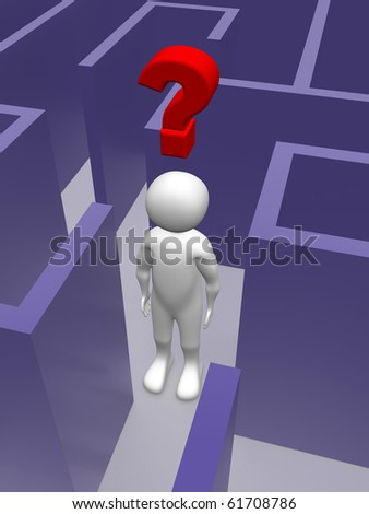 A man in a maze with a doubt. Conceptual illustration - stock photo