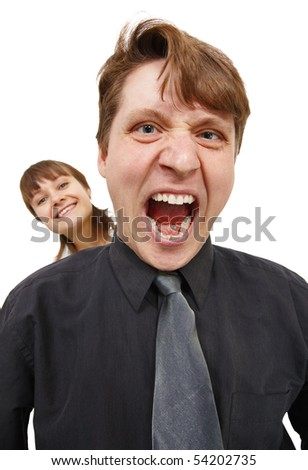 A man in a rage and shouted loudly. Woman happy. Isolated on white.