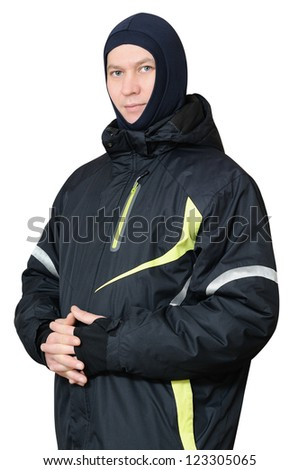 A man in a ski jacket and sports Balaclava. Isolated on white background