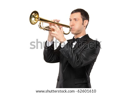 A man in a suit playing a trumpet isolated on white background