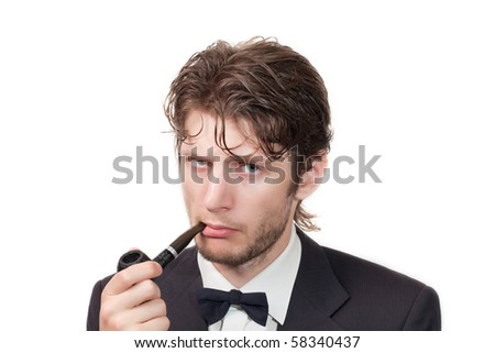 A man in a suit, with a pipe isolated on a white background