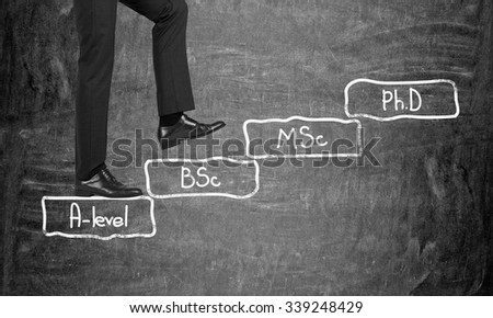 A man in formal suit is going up to the stairs. Steps symbolise level of education. A-levle, Bachelor, Masters and Doctor of Philosophy. Black chalkboard on background. Education.