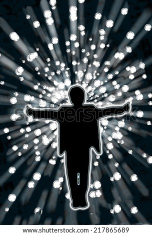 A man in silhouette against a dramatic starburst backdrop. - stock photo