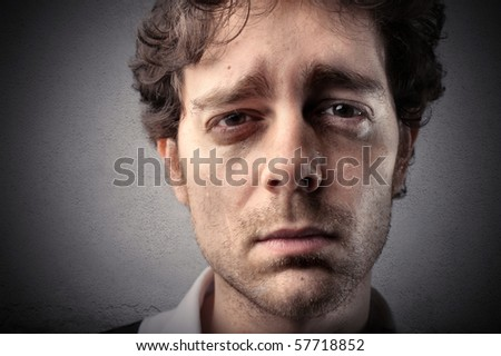 A man is crying - stock photo