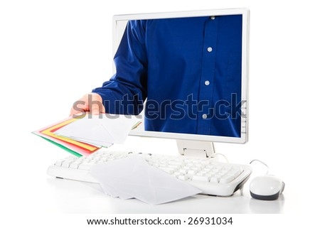 A man is delivering mails from inside computer's screen. - stock photo