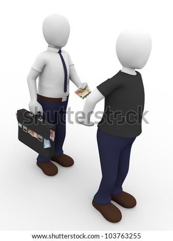 A man is giving a bribe to another man. Concept of corruption - stock photo