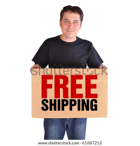 A man is holding a brown shipping box present that says Free Shipping. He is on a white background and looks happy. Use it for a business marketing or sale concept.