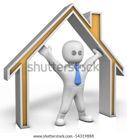 A man is holding the roof of house - stock photo