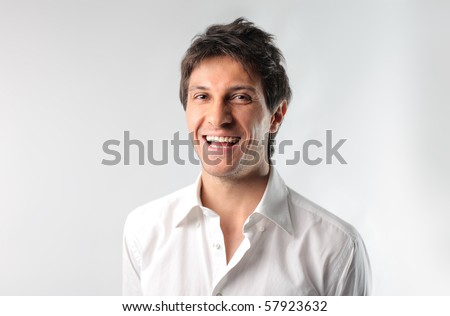 A man is laughing - stock photo