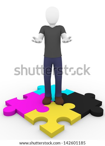 A man is offering the cmyk solution - stock photo