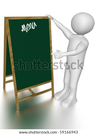 A man is pointing to a menu blackboard - stock photo