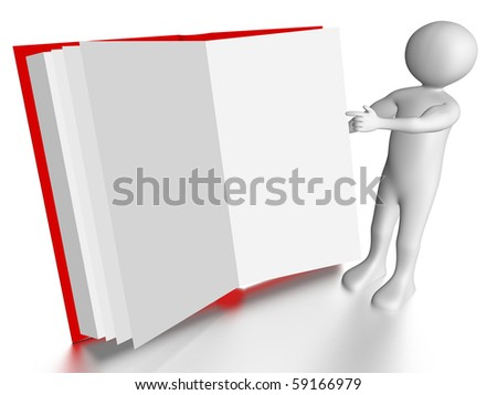 A man is pointing to a open book - stock photo