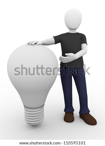 a man is presenting a light bulb. Electrical concept - stock photo