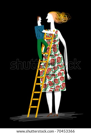 a man is raised in stairs to reach very high woman - stock photo