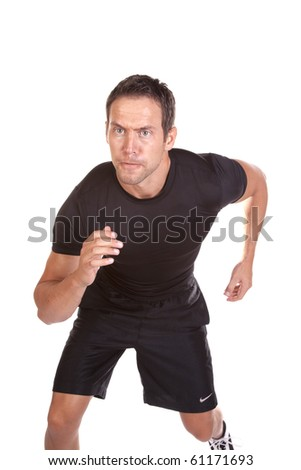 A man is running wearing black