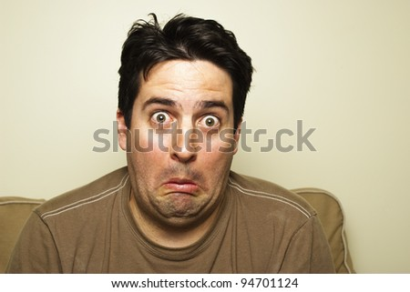 A man is shocked! - stock photo