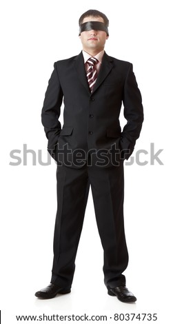 a man is standing in a black ribbon isolated on a white background - stock photo