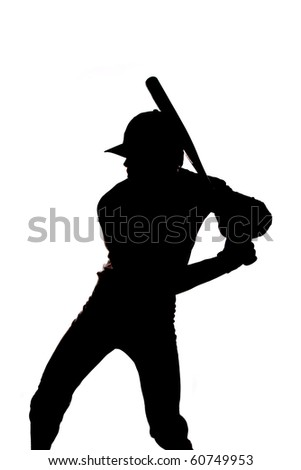 A man is standing ready to swing the bat.  He is silhouetted on a white background. - stock photo