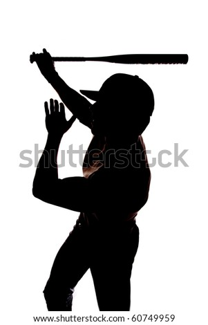 A man is swinging his bat with one hand silhouetted on white. - stock photo