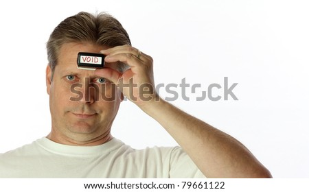 A man is void of any idea on the subject at hand - stock photo