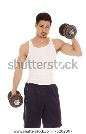 A man is working out with one arm up.
