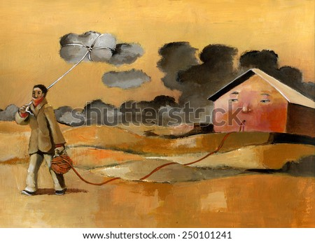 a man leaves his house remain connected by a common thread of wool and takes away a cloud like a kite - stock photo