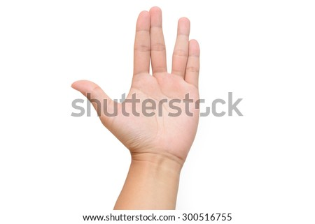 A man left hand doing the Vulcan salute on a white background.