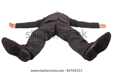A man lies on his back legs forward isolated on a white background - stock photo