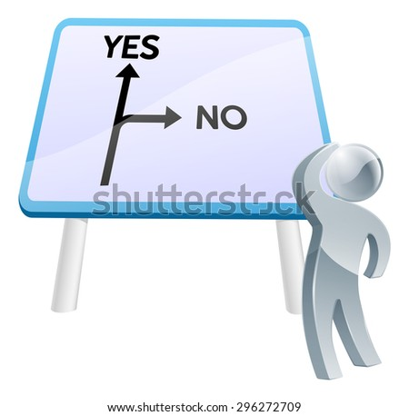 A man looking up at a direction road sign with the words yes and no on it - stock photo