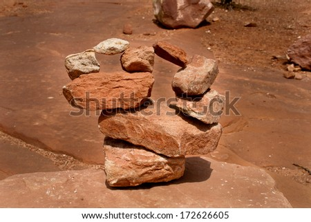 A man made rock formation in the Utah canyon lands area - stock photo