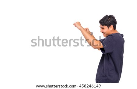 A man makes boxing gesture.