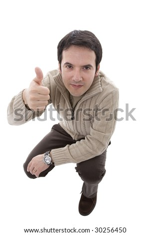 a man making a positive sign with his finger - stock photo