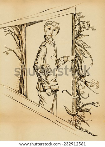 A man opens the door in the summer, on the other side of the door - autumn. In his hand he is holding something - stock photo