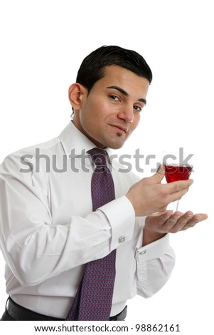 A man or salesman presenting or showing a glass of wine.  White background. - stock photo