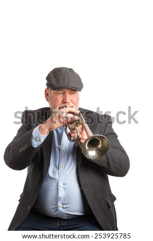 A man playing a vintage silver cornet, trumpet, isolated on a white background
