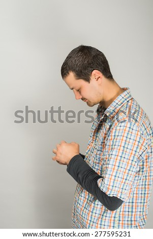 A man prays - stock photo
