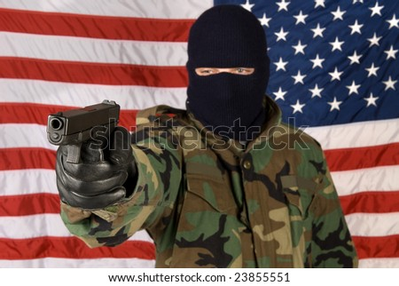 A man prepares to defend his country against all evil. - stock photo