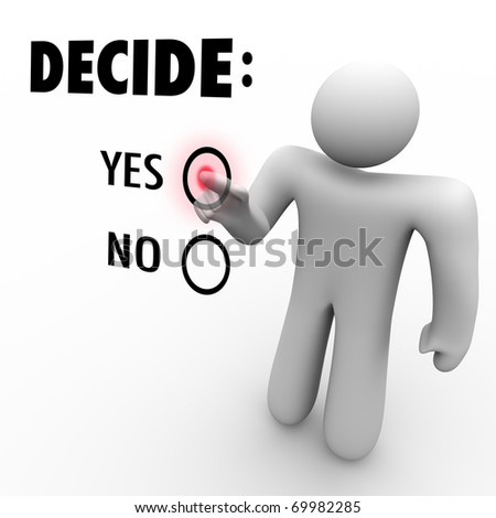 A man presses a button beside the word Yes when asked to choose between Yes and No - stock photo