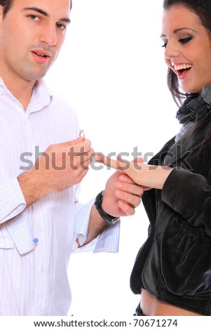 A man proposing marriage isolated on white