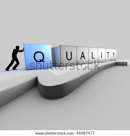 A man puts up bricks of quality - stock photo