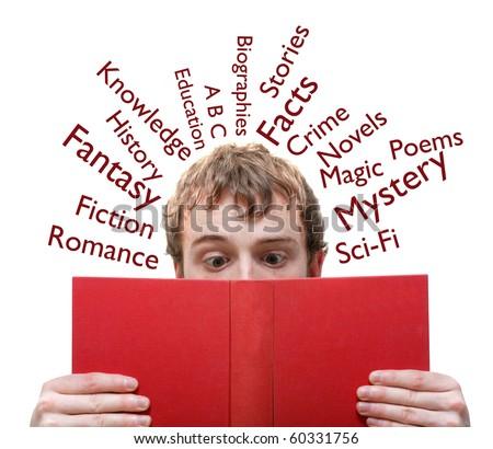 A man reading a book - stock photo