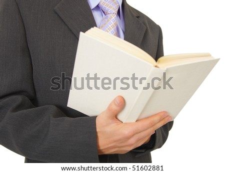 A man reads a book, isolated on a white background - stock photo