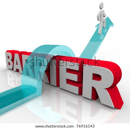 A man rides a rising arrow over the word Barrier, symbolizing the ability to overcome an obstacle on the way to success - stock photo