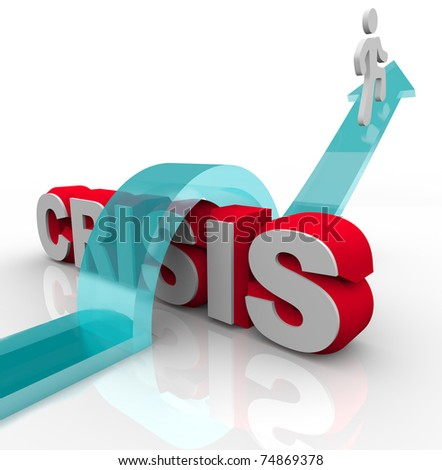 A man rides an arrow over the word Crisis, symbolizing overcoming an emergency with a disaster plan - stock photo
