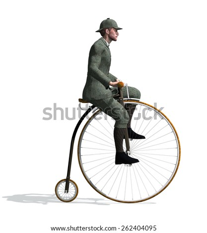 A man riding a penny-farthing bicycle - 3D render. - stock photo