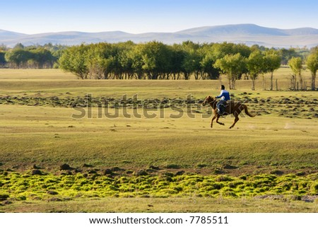 A man riding horse at the grassland in Inner Mongolia. - stock photo