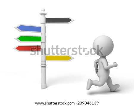 A man running in front of a road sign - stock photo